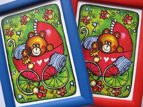 Medvídek v kočárku- obrázek