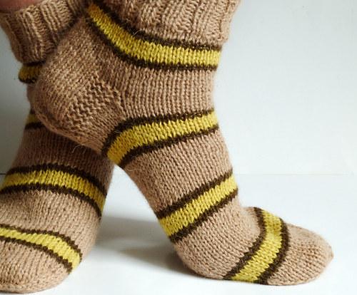 Pánské ponožky 100% ALPAKA pruhované nižší