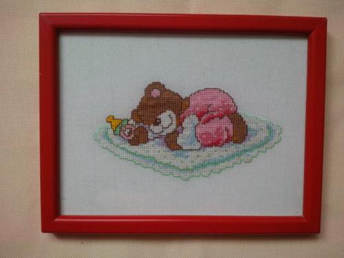 Vyšívaný obrázek medvídek