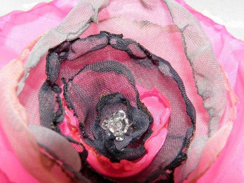 Brož šedo růžová kudrnatá