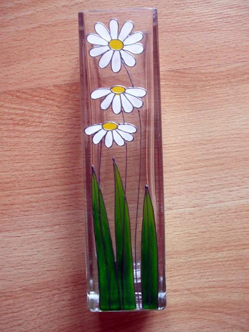 Skleněná váza - kopretiny (menší)