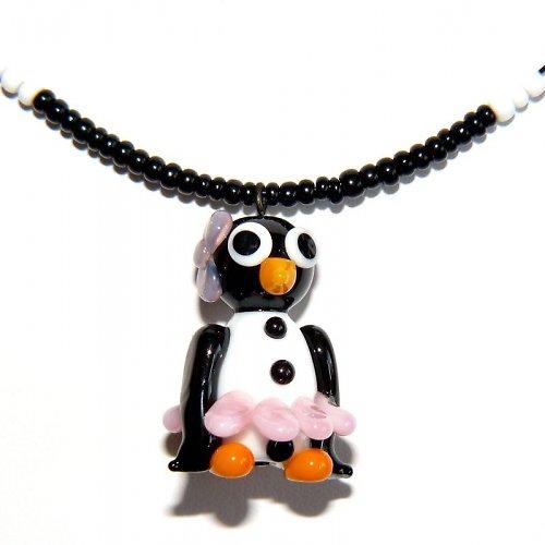 Tučňáčí holka v růžové sukni - vinutá perle