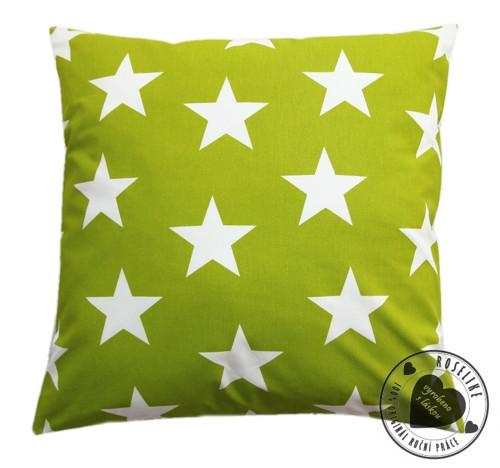Povlak na polštář Zelený s velkými hvězdami 50x50