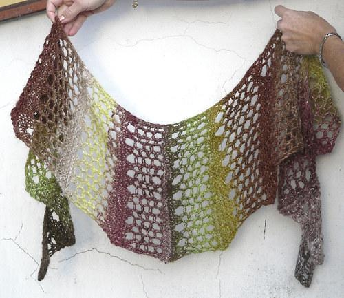 v podzimním lese-pletený šátek-hedvábí,mohér,vlna