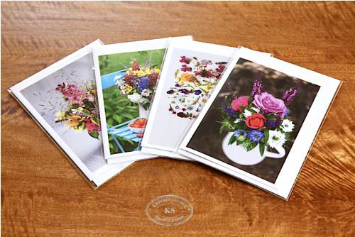 Květinová přání do obálky - 4 druhy v setu