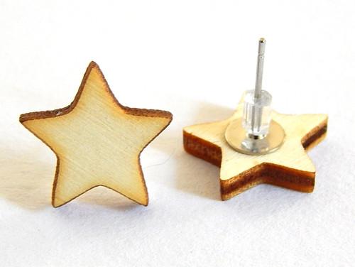 Dřevěné náušnice, topolky, puzeta, hvězda