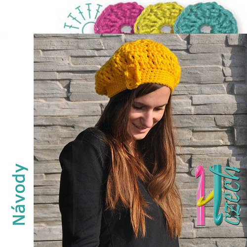 Háčkovaný baret žlutá hvězda