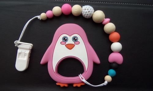 Tučňáček růžovka, kousátko, klip na dudlík