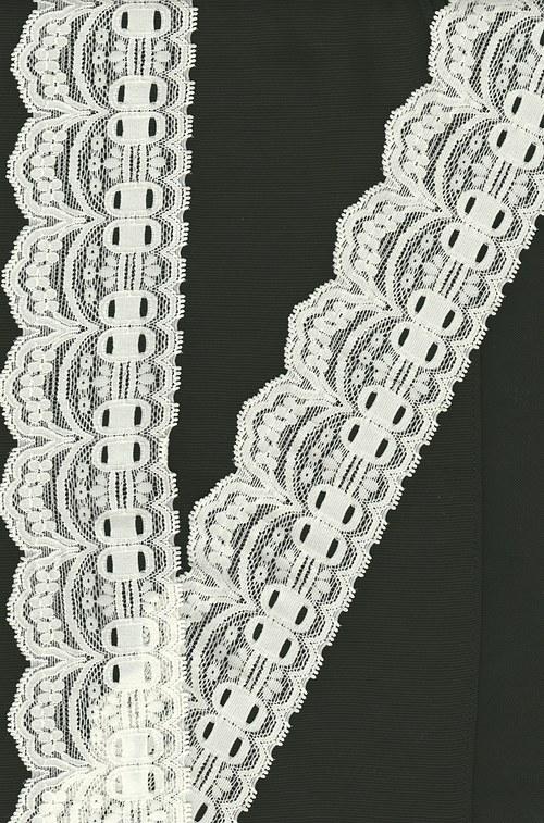 Slonová kost-strečová krajka i bílá v nabídce7cm