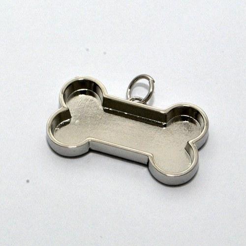 Kovový základ na přívěsek psí kost / stříbrný