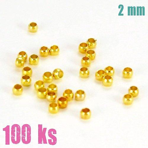 Zamačkávací rokajl zlatý 2 mm 100 ks