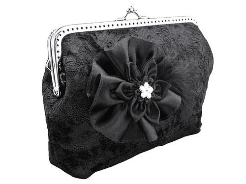Krajková  společenská kabelka černá 0685A