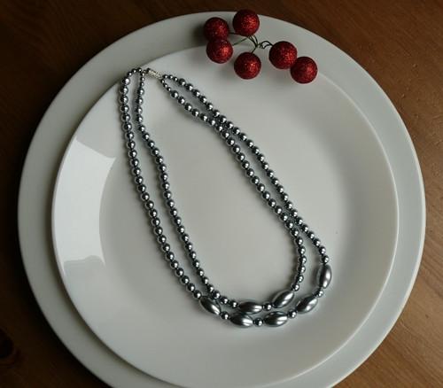 náhrdelník dvouřadý - šedá variace