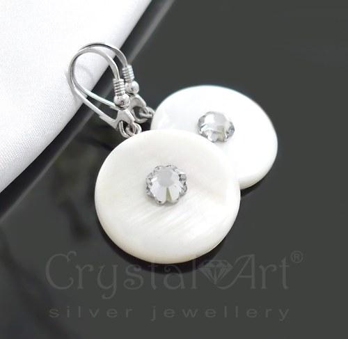 Perleťové náušnice s krištáľmi