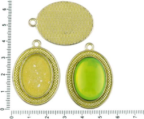 2ks české Žlutá Patina Antique Silver Tón Velký Ov
