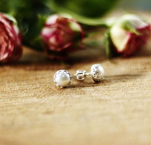 Bílá perla puci - stříbro (Ag 925, přírodní perla)