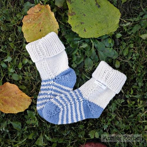 Smetanové ponožky s proužky, bavlna, vel.11 cm