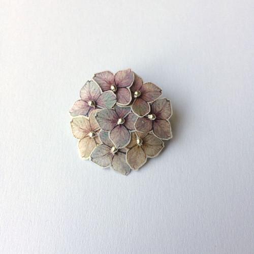 brož kulatá- mini hortenzie