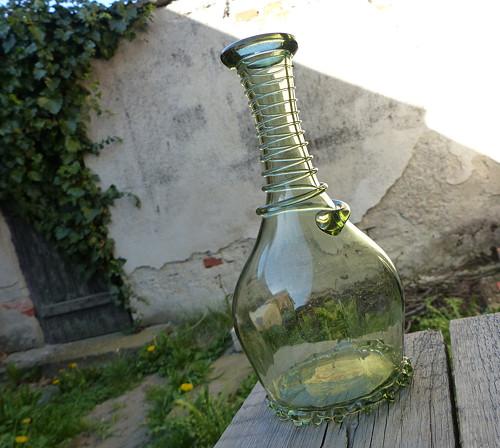 Lesní vůní...váza/karafa,  zelené sklo