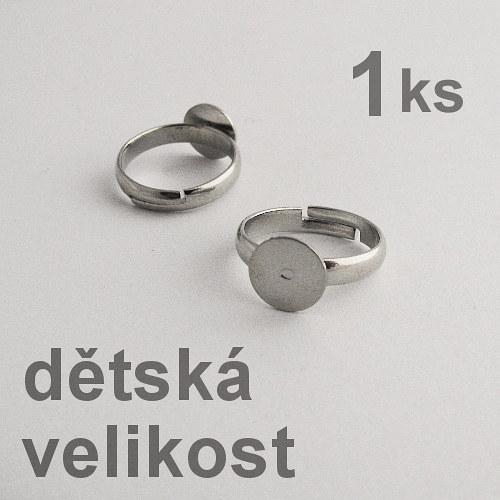 Dětský prstýnek s ploškou - platina