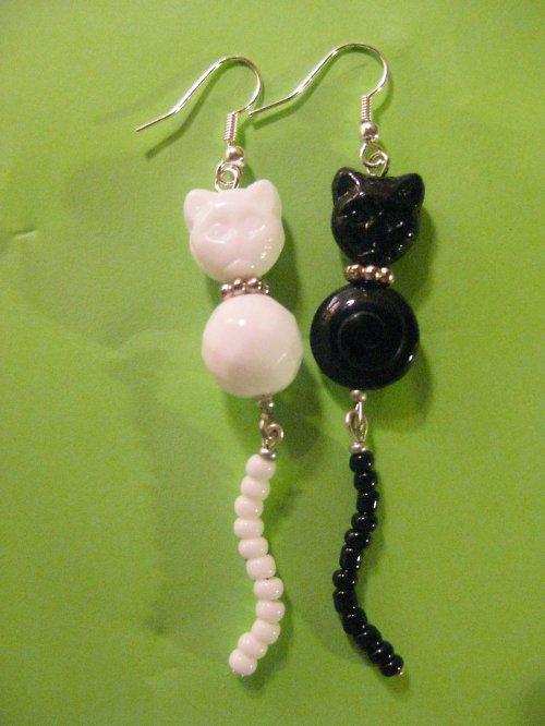 black and White cats II.-náušničky