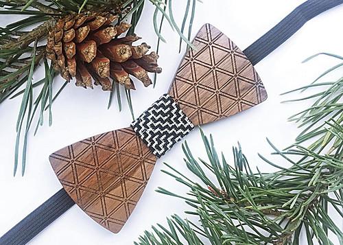 Dřevěný pánský motýlek Triangle - Mozaika