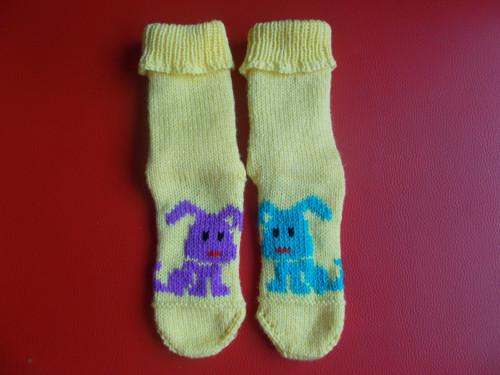Jarní velikonoční ponožky - zajíčci
