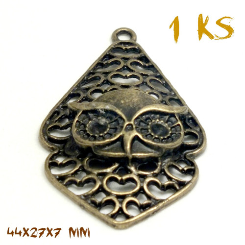 přívěsek SOVA MAORI bronz ANTIQUE 44mm 1ks