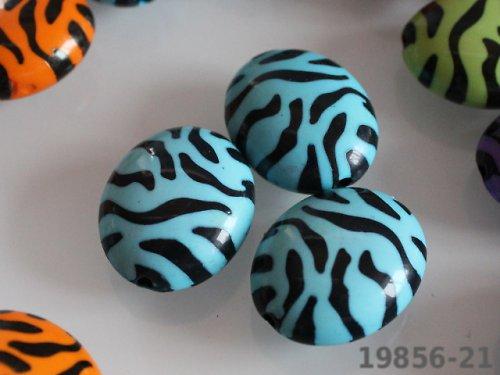 19856-B21 Korálky zebra OVÁLKY - TYRKYS bal. 4ks