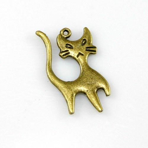 Přívěsek - oboustranná kočka bronzová (1 ks)