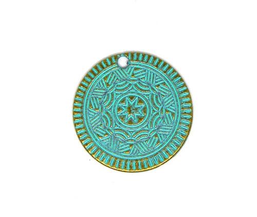 Přívěsek mince bronz s patinou, 1 ks