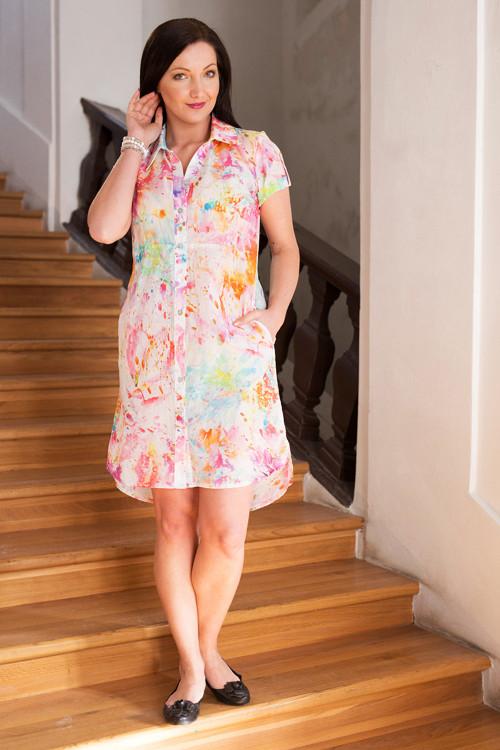 Košilové šaty - barevné cákance