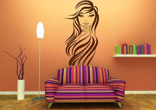 Samolepka - Dívka s dlouhými vlasy (30 x 60 cm)