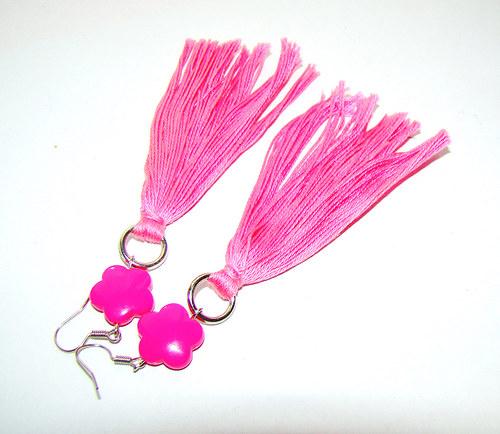 náušnice  růžové dlouhé střapce