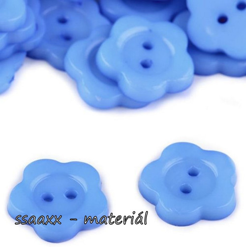 Plastový knoflík ~ květ ~ 14 mm ~ 2 ks ~ modrý