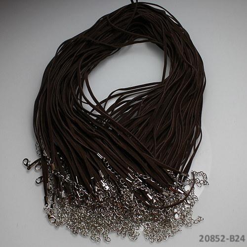 20852-B24 Semišová šňůrka karabinkou HNĚDÁ, 1ks