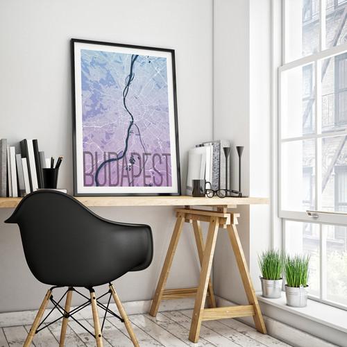 BUDAPEŠŤ, 50x70cm, elegantní, modro-fialová
