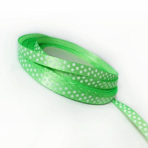 stuha satén PUNTÍK 6 mm jasně zelená