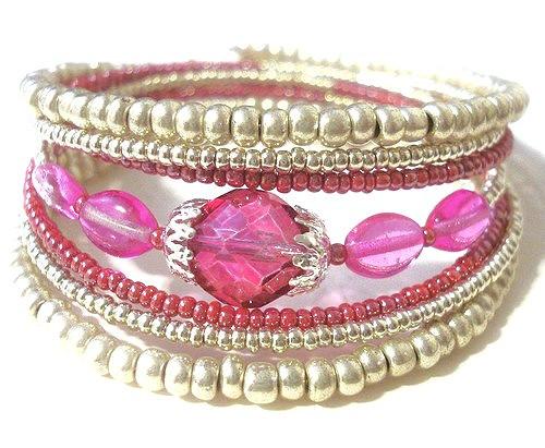 Náramek - růžová ve stříbře