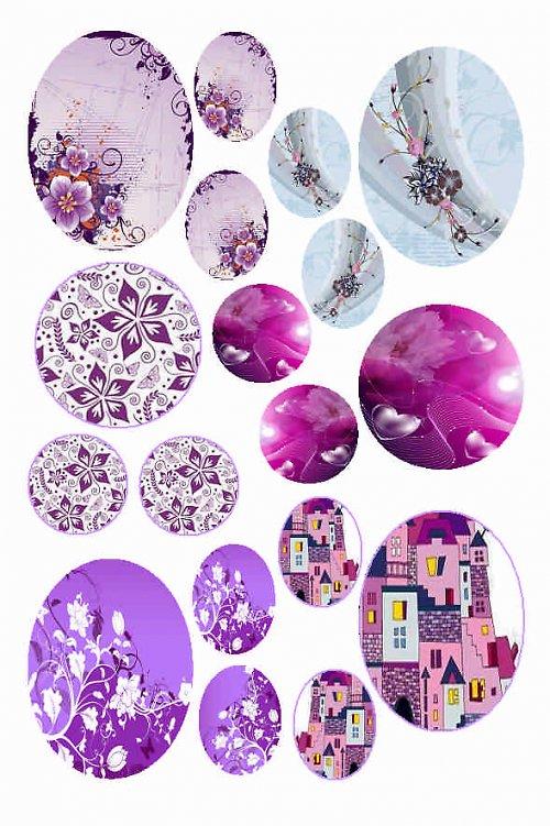 mix motivů růžovo-fialových (A)
