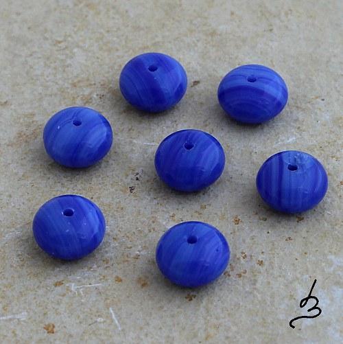 Rondelky modré žíhané - 15 ks