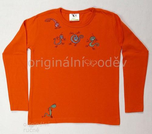 Malované tričko dětské-jásající příšerky- ZLEVNĚNO