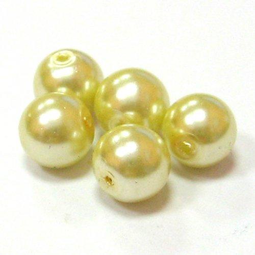 Perly voskové - 10 mm - smetanová - 10 ks