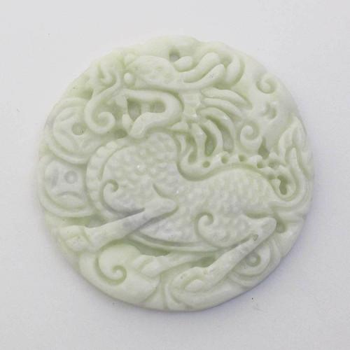 Přívěsek  čínský ručně vyřezávaný jadeit kruh 48mm