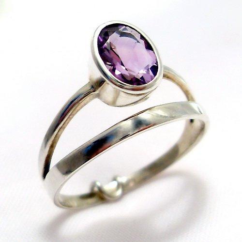 Prsten «Korálek»  - stříbro 925, přírodní ametyst