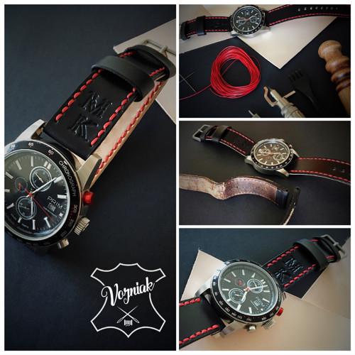 kožený řemínek k hodinkám - zakázková výroba