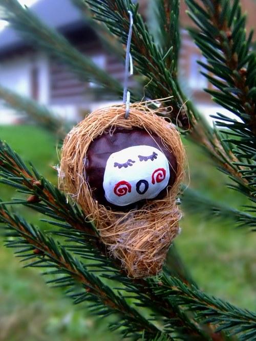 Vánoční ozdoba Ježíšek zívající,spirály - přírodní