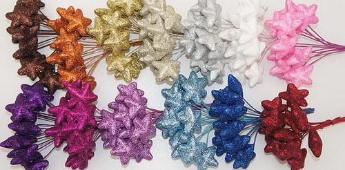 Hvězdičky na drátku - glitter (12 ks) - stříbrné
