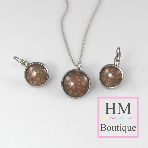 ocelový set -náušnice a náhrdelník hnědý