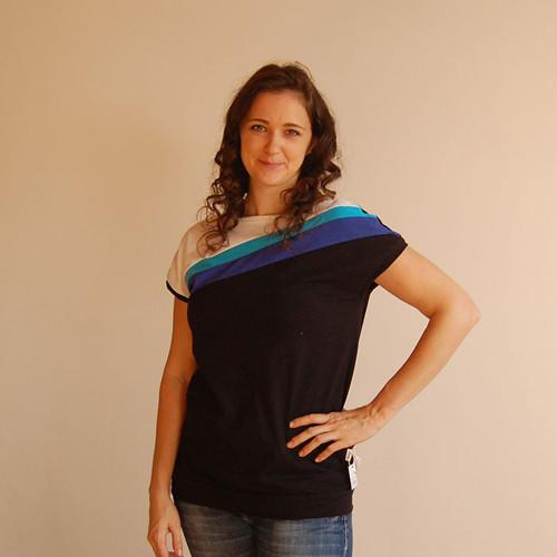 Dámské tričko černé s modrou